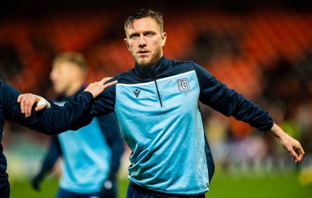 Dundee's Jordan McGhee before the Ladbrokes Championship match between Dundee Utd and Dundee at Tannadice Park on December 27, 2019 in Dundee,...