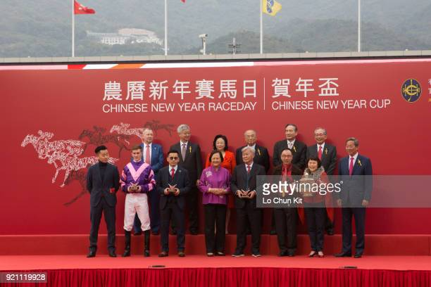 Dundonnell's Owner Elizabeth Lee Ho Ling trainer Frankie Lor and jockey Chad Schofield at the Chinese New Year Cup trophy presentation ceremony at...