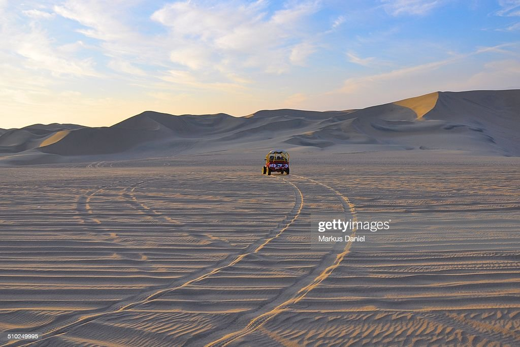 Dune buggy in the dunes near Huacachina : Stock Photo