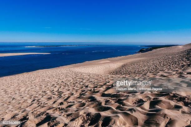 Dune de Pilat Europe's tallest sand dune nestled between the Atlantic Ocean an enormous pine forest the Arcachon Bay a sandbank and a peninsula