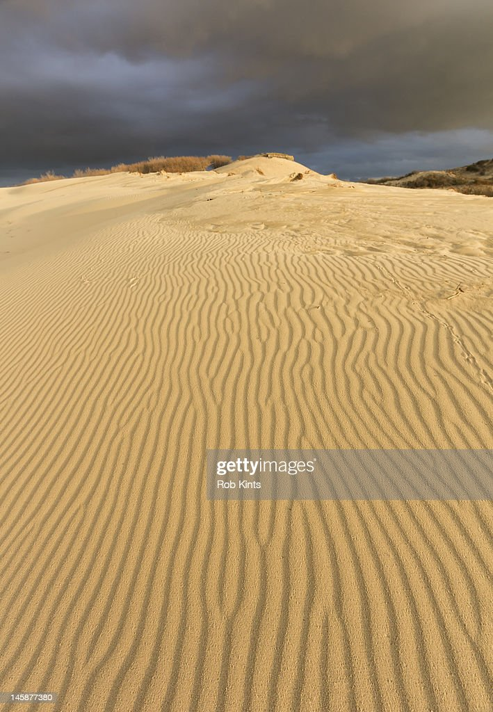 Dune landscape and dark clouds : Stockfoto