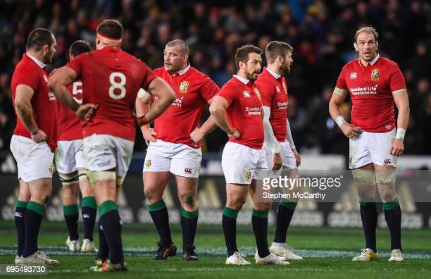 Dunedin New Zealand 13 June 2017 Alun Wyn Jones and his British and Irish Lions teammates following the match between the Highlanders and the British...