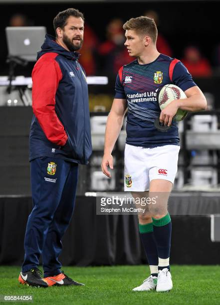 Dunedin New Zealand 13 June 2017 Owen Farrell and British Irish Lions defence coach Andy Farrell prior to the match between the Highlanders and the...