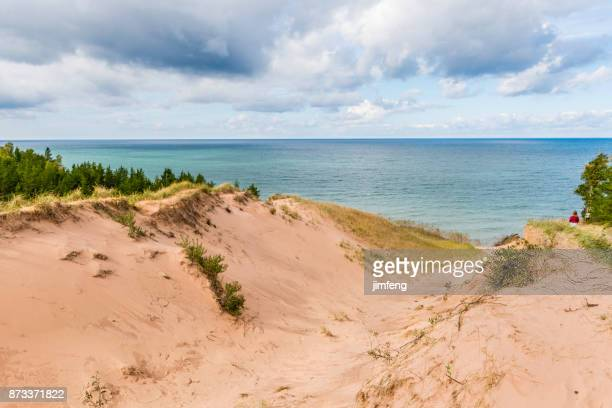 dunes at sable waterfall - munising michigan stock pictures, royalty-free photos & images
