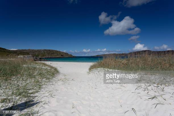 Dunes opening to Achmelvich Bay on the north west coast of Scotland