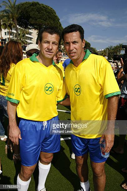 Dunga and Careca during 2006 Cannes Film Festival - Brasilian World Cup Winners Photocall at Cannes in Cannes, France.