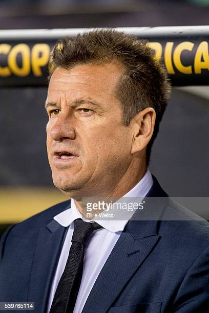 Dunga, coach of Brazil looks on during a group B match between Brazil and Peru at Gillette Stadium as part of Copa America Centenario US 2016 on June...