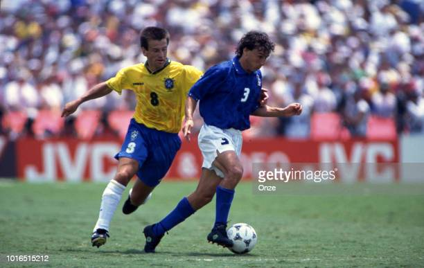 Dunga of Brazil and Antonio Benarrivo of Italy during the 1994 FIFA World Cup final match between Brazil and Italy at Rose Bowl on July 17 1994 in...