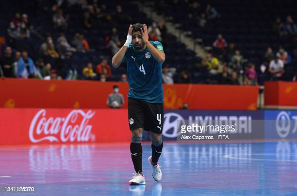 Dunga of Egypt reacts during the FIFA Futsal World Cup 2021 group B match between Egypt and Uzbekistan at Vilnius Arena on September 18, 2021 in...