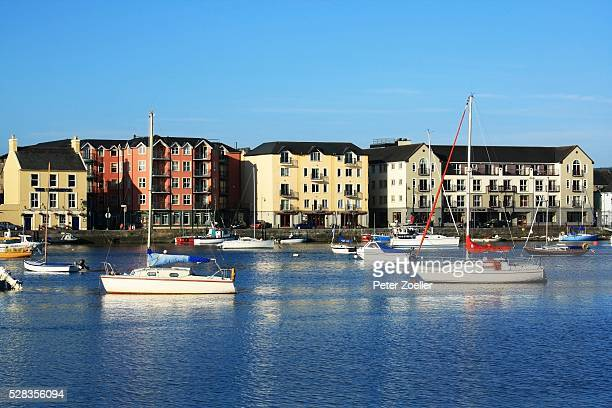 dungarvan, co waterford, ireland; boats in the harbour - county waterford ireland stock pictures, royalty-free photos & images