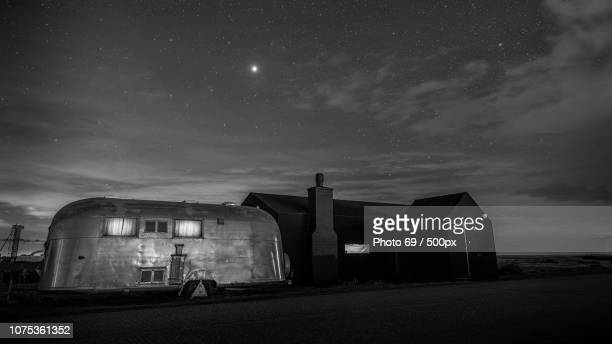 Dungeness House and  Airstream under the stars