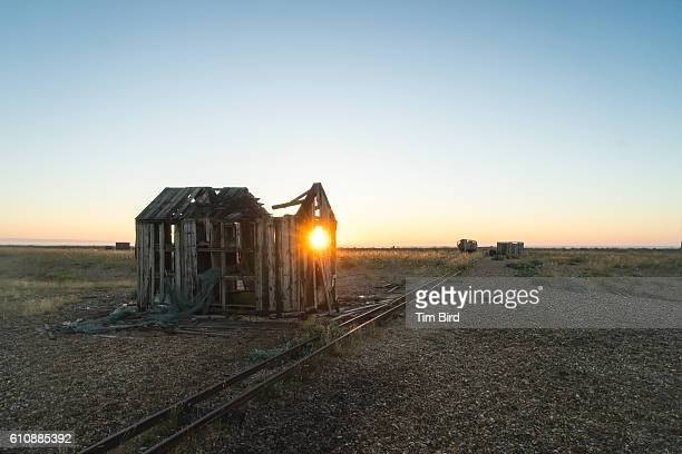 dungeness shed at sunrise - dungeness stock pictures, royalty-free photos & images