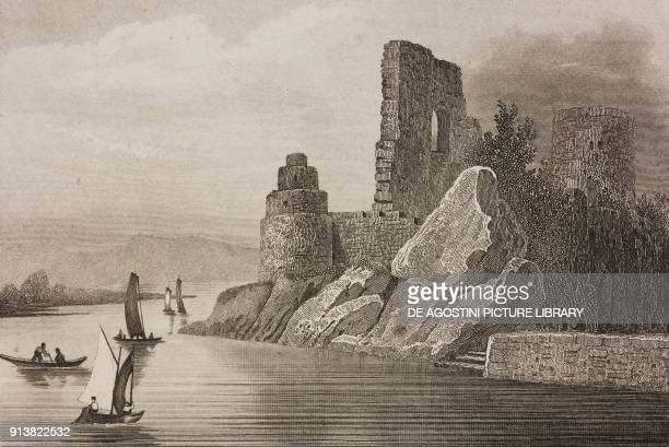 Dunglass Castle by the River Clyde Scotland United Kingdom engraving by Schroeder from Angleterre Ecosse et Irlande Volume IV by Leon Galibert and...