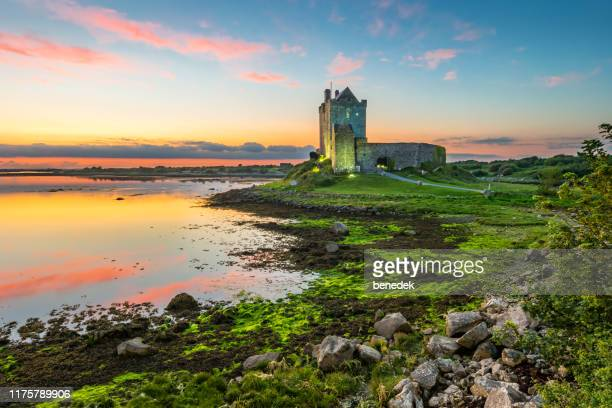 dunguaire castle on shores of galway bay ireland - ireland stock pictures, royalty-free photos & images