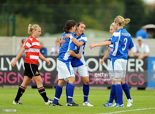 Dunia Susi of Birmingham celebrates after she scored the opening goal of the game during the FA WSL match between Birmingham City Ladies FC and...