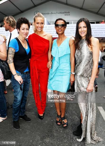 Dunja Hayali Alena Gerber Dennenesch Zoudé and Bettina Zimmermann arrive for the Laurel Show at the MercedesBenz Fashion Week Spring/Summer 2013 on...