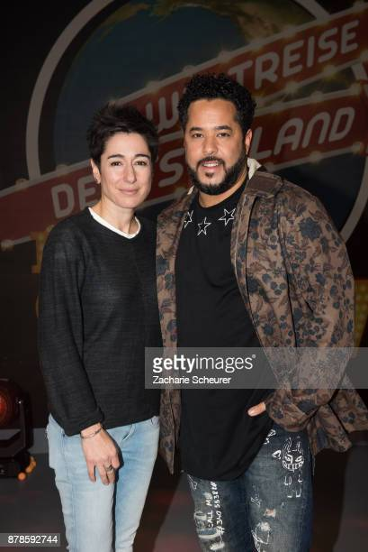 Dunja Hayali and Adel Tawil at the 'Weltreise Deutschland Die Show' Photo Call at Fernsehwerft Berlin on November 24 2017 in Berlin Germany