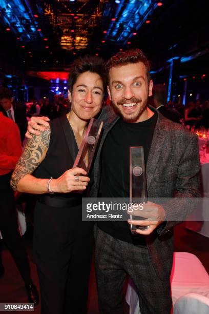 Dunja Hayali and award winner Edin Hasanovic attend the German Television Award at Palladium on January 26 2018 in Cologne Germany