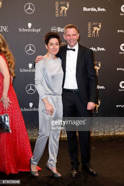 Dunja Hayali and Axel Gutschmidt arrive at the Bambi Awards 2017 at Stage Theater on November 16 2017 in Berlin Germany