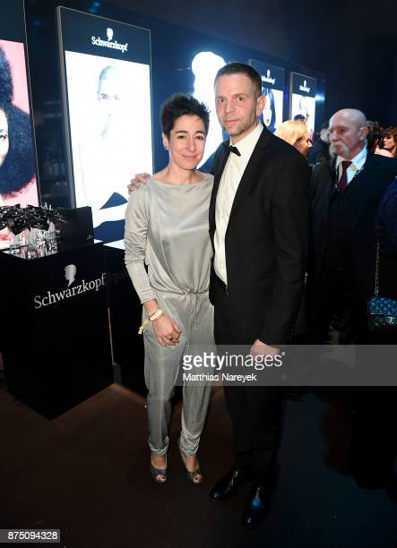 Dunja Hayali and Axel Gutschmidt pose at the Bambi Awards 2017 party at Atrium Tower on November 16 2017 in Berlin Germany