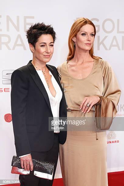 Dunja Hayali and Esther Schweins attend the Goldene Kamera 2016 on February 6 2016 in Hamburg Germany