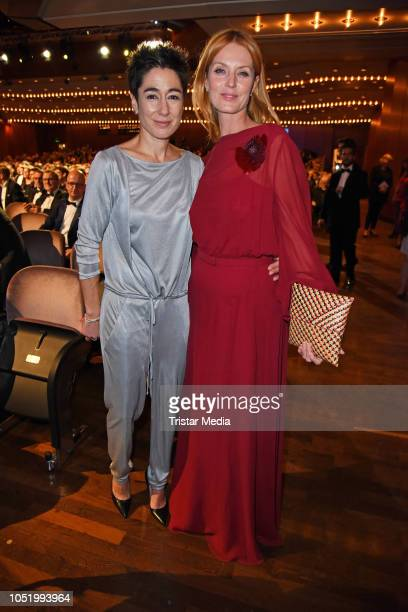 Dunja Hayali and Esther Schweins during the Hessian Film and Cinema Award at Alte Oper on October 12 2018 in Frankfurt am Main Germany
