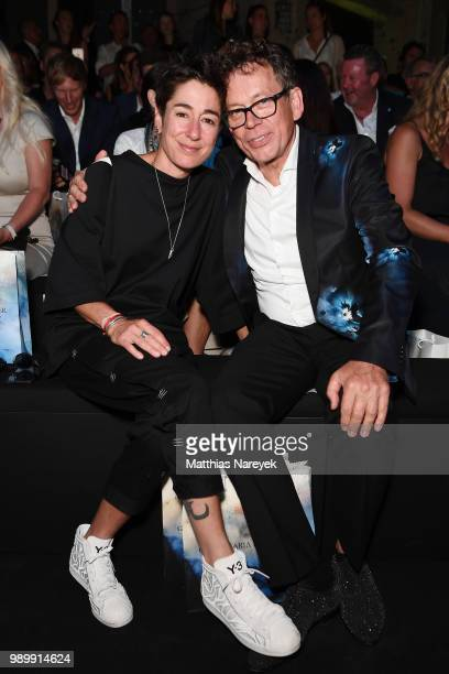 Dunja Hayali and Frank Mutters attend the Guido Maria Kretschmer show during the Berlin Fashion Week Spring/Summer 2019 at ewerk on July 2 2018 in...