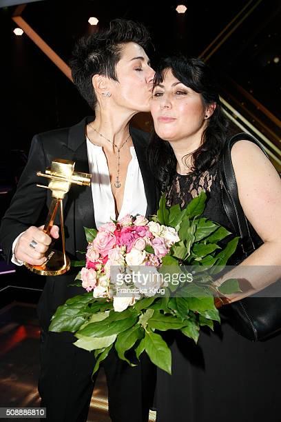 Dunja Hayali and her sister Maha Hayali attend the Goldene Kamera 2016 show on February 6 2016 in Hamburg Germany