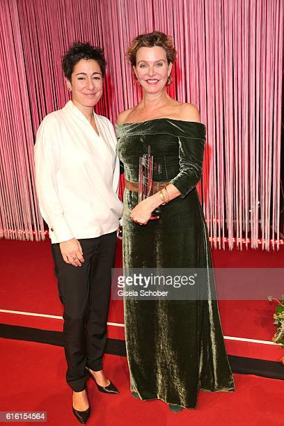 Dunja Hayali and Margarita Broich with her award for best female actress during the Hessian Film and Cinema Award at Alte Oper on October 21, 2016 in...
