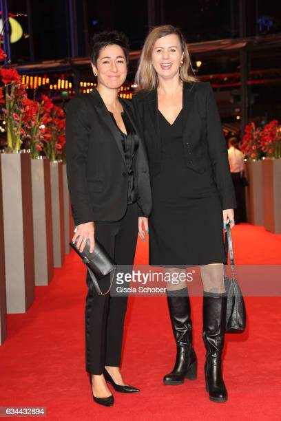 Dunja Hayali and Pamela Schobess attend the 'Django' premiere during the 67th Berlinale International Film Festival Berlin at Berlinale Palace on...
