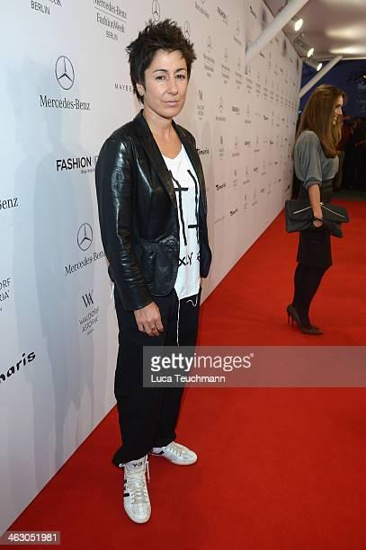 Dunja Hayali arrives for the Guido Maria Kretschmer Show during MercedesBenz Fashion Week Autumn/Winter 2014/15 at Brandenburg Gate on January 16...