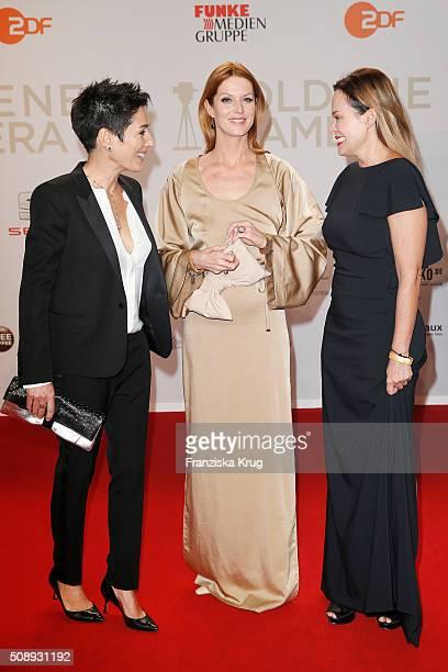 Dunja Hayali Esther Schweins and Sonja Kirchberger attend the Goldene Kamera 2016 on February 6 2016 in Hamburg Germany
