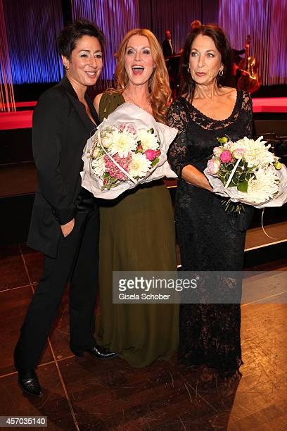 Dunja Hayali, Esther Schweins, Daniela Ziegler attend the Hessian Film And Cinema Award 2014 on October 10, 2014 at Alte Oper in Frankfurt am Main,...