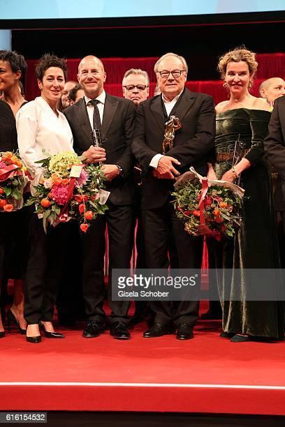 Dunja Hayali, Heino Ferch, Klaus Maria Brandauer and Margarita Broich during the Hessian Film and Cinema Award at Alte Oper on October 21, 2016 in...