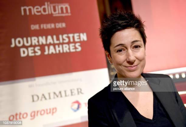Dunja Hayali is awarded in the category 'politics' during the 'Journalist of the Year 2016' awards of 'medium magazine' in Berlin Germany 7 February...