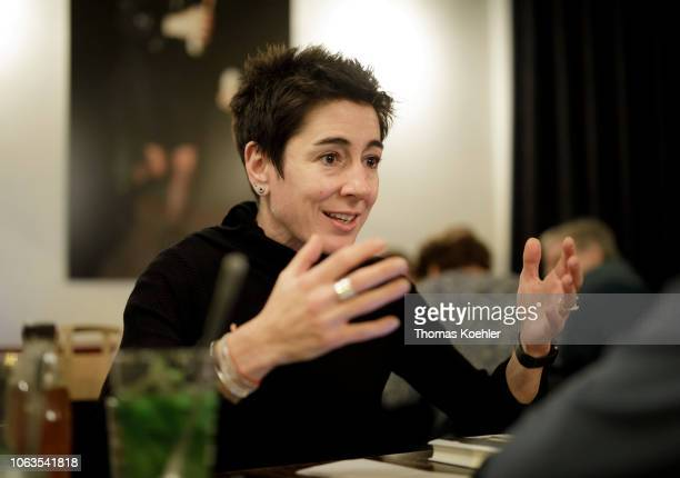 Dunja Hayali journalist and television presenter gives an interview on October 30 2018 in Berlin Germany