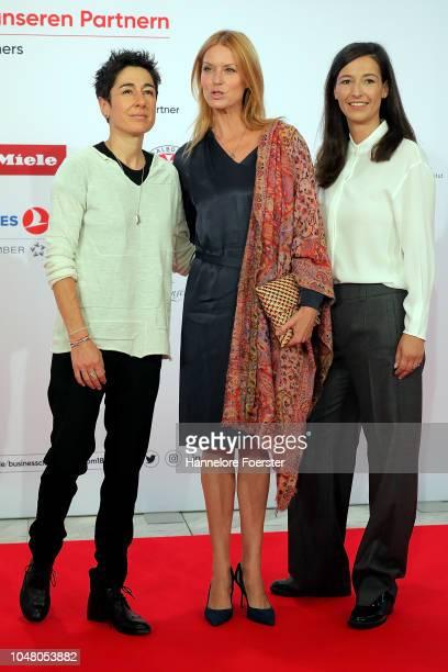 Dunja Hayali moderator Ester Schwein actor and Pinar Atalay moderator attend the opening ceremony of the 2018 Frankfurt Book Fair on October 9 2018...