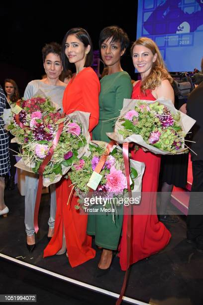 Dunja Hayali Pegah Ferydoni Dennenesch Zoude and Luise Baehr during the Hessian Film and Cinema Award at Alte Oper on October 12 2018 in Frankfurt am...