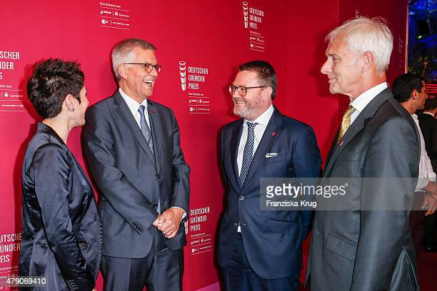 Dunja Hayali Thomas Bellut Christian Krug and Matthias Mueller attend the Deutscher Gruenderpreis 2015 on June 23 2015 in Wetzlar Germany