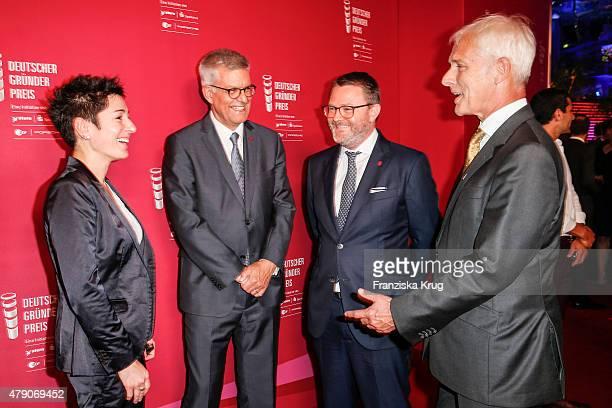 Dunja Hayali Thomas Bellut Christian Krug and Matthias Mueller attend the Deutscher Gruenderpreis 2015 on June 23 2015 in Wetzlar Germany