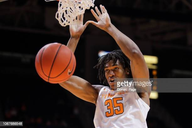 Dunk from Yves Pons of the Tennessee Volunteers during the first half of their game against the Texas A&M-CC Islanders at Thompson-Boling Arena on...