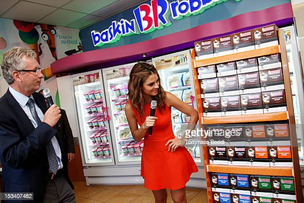 Dunkin' Brands and President of Dunkin' Donuts Nigel Travis and Maria Menounos attend the Dunkin' Donuts K-Cup packs introduced to California event...