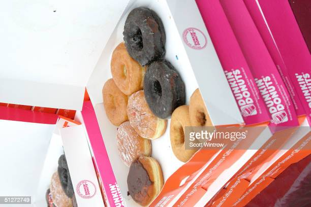 Dunkin Donuts display at the Olympus Fashion Week Spring 2005 at Bryant Park September 12 2004 in New York City