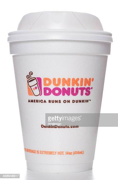 dunkin' donuts foam cup for hot drinks - dunkin' stock pictures, royalty-free photos & images