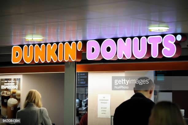 A Dunkin Donuts shop is seen in the Warsaw Central Station in Warsaw Poland on April 4 2018
