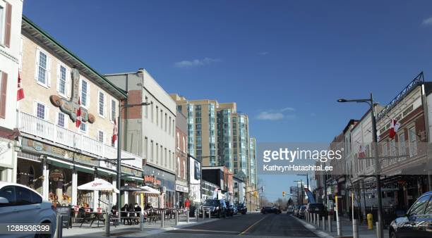 dunlop street east in downtown barrie, ontario, canada - barrie stock pictures, royalty-free photos & images