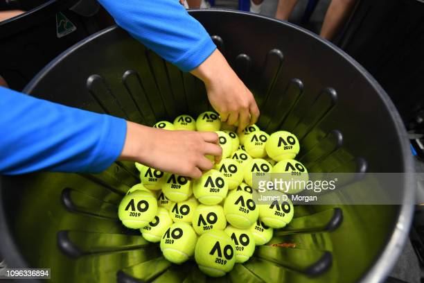 Dunlop tennis balls ready for use in matches during day six of the 2019 Australian Open at Melbourne Park on January 19, 2019 in Melbourne,...