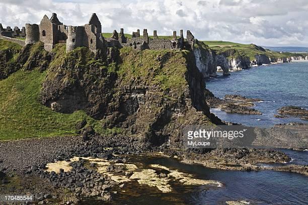 Dunluce Castle and White Rocks, County Antrim, Northern Ireland, United Kingdom.