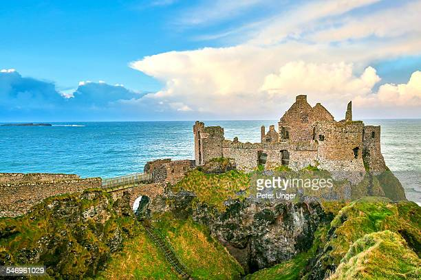 dunluce castle, county antrim, northern ireland - dunluce castle stock photos and pictures