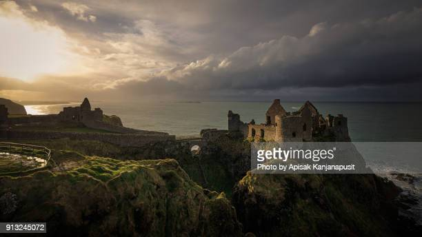 dunluce castle, northern ireland - dunluce castle stock photos and pictures
